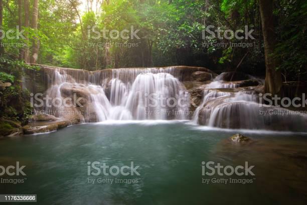 Photo of beautiful deep forest waterfall in Thailand, Erawan waterfall