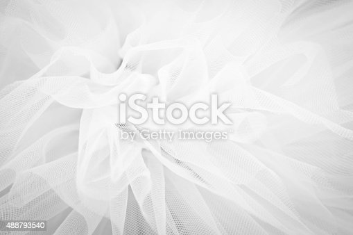 istock Beautiful delicate background mesh fluffy fabric, Black and white 488793540