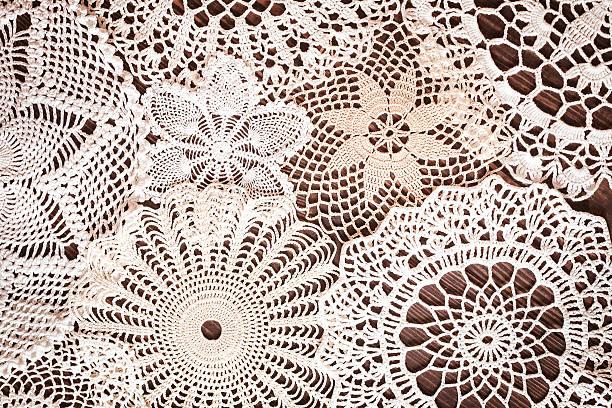 beautiful delicate vintage lace background - koronka zdjęcia i obrazy z banku zdjęć