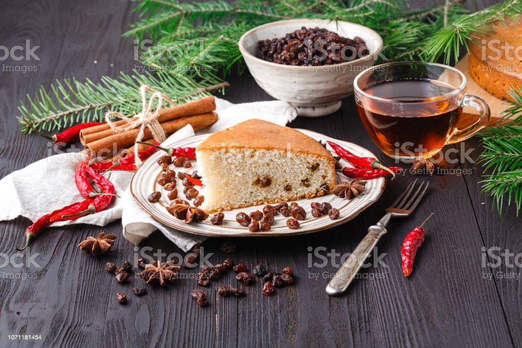 Hermosa Deliciosa Casera Pastel De Frutos Secos Navidad En