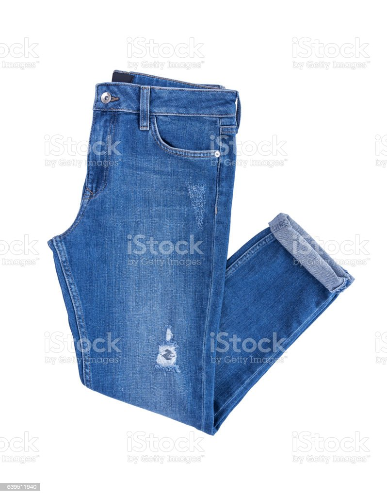 Beautiful denim pants. stock photo