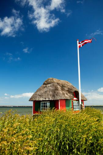View of a beach house on the island of Ærø, Denmark.