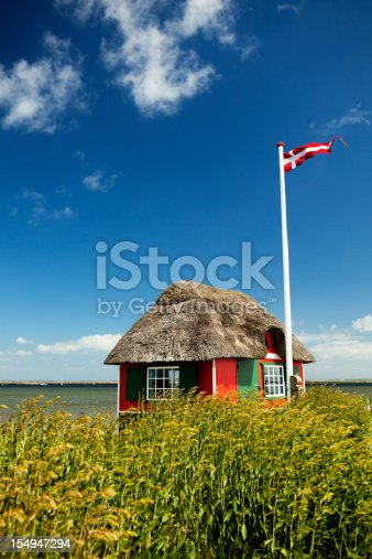 View of a beach house on the island of Ærø, Denmark.