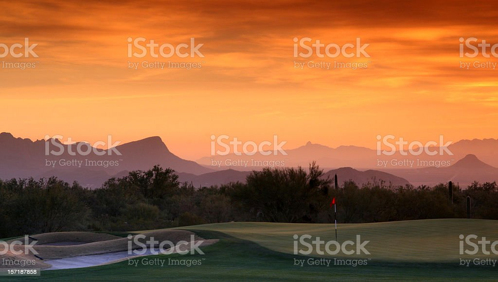 Beautiful Desert Golf Course at Sunset stock photo