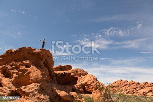 USA. Arizona. Rock formation. Girl