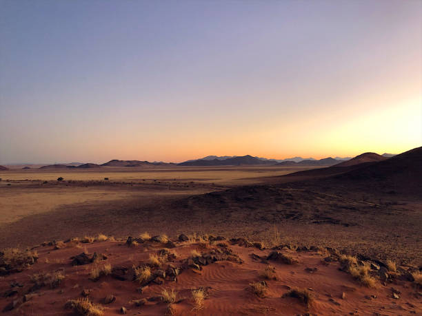 Beautiful Desert Sand dunes and Landscape at sunrise Namibian Landscape Scene in the Namib Desert Namibia Africa wilderness stock pictures, royalty-free photos & images