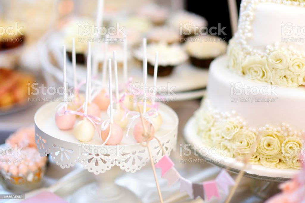 Beautiful Desserts Sweets And Candy Table At Wedding Reception Stock