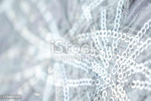 istock Beautiful details of a wedding dress beadwork close-up .Silver Shiny Ice Sparkle Party Invite Background 1124521121