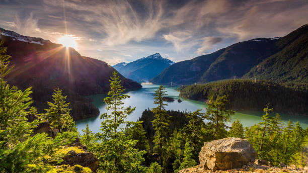 beautiful diablo lake is a reservoir in the north cascade mountains of northern washington state, united states. - wilderness stock pictures, royalty-free photos & images