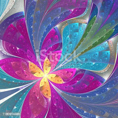 Beautiful diagonal fractal flower or  butterfly in stained-glass window style. Element of decor. Pink and blue. Artwork for creative design, art and entertainment.