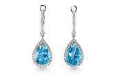 美しいダイヤモンド アクアマリン ブルー ターコイズ トパーズ宝石クッション カット ペアーシェイプ ティア ドロップ ダイヤモンド ピアス。