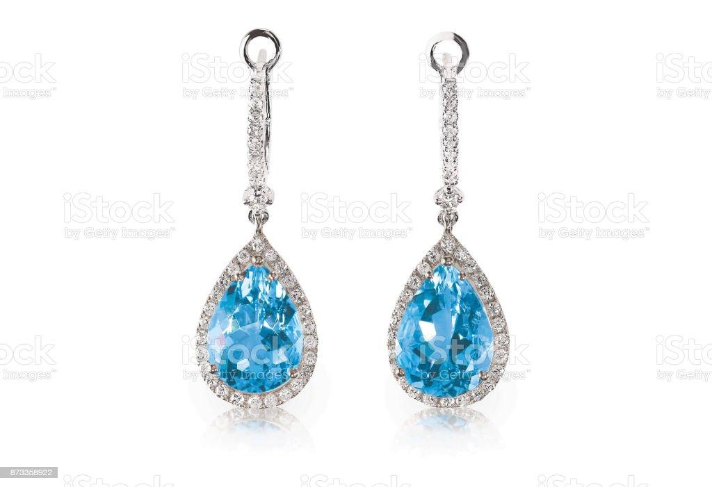 Linda almofada de pedras preciosas diamante azul-marinho turquise azul Topázio corte forma de pera, brincos de diamante de dangle de gota de lágrima. - foto de acervo