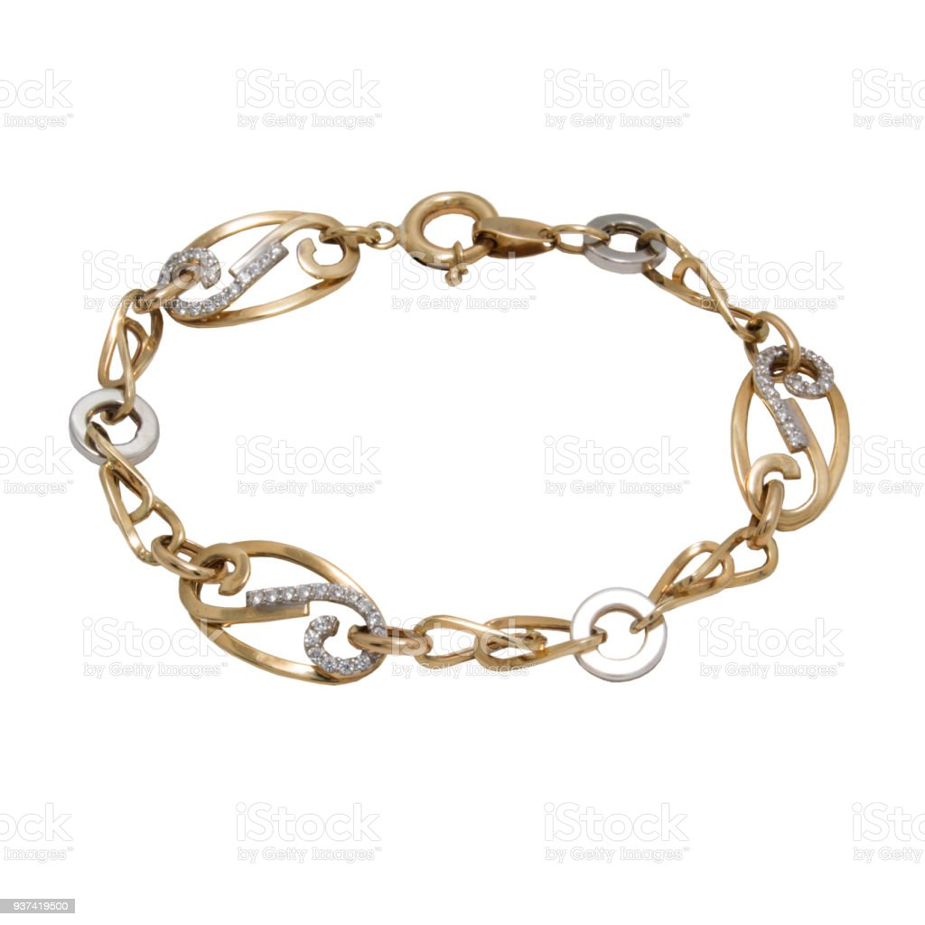 Beautiful diamond golden bracelet from white and red gold stock photo