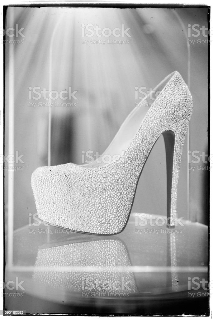 black high heels with diamonds