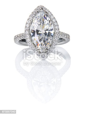istock Beautiful Diamond ring. Marquise Cut Engagement wedding ring. 873357040