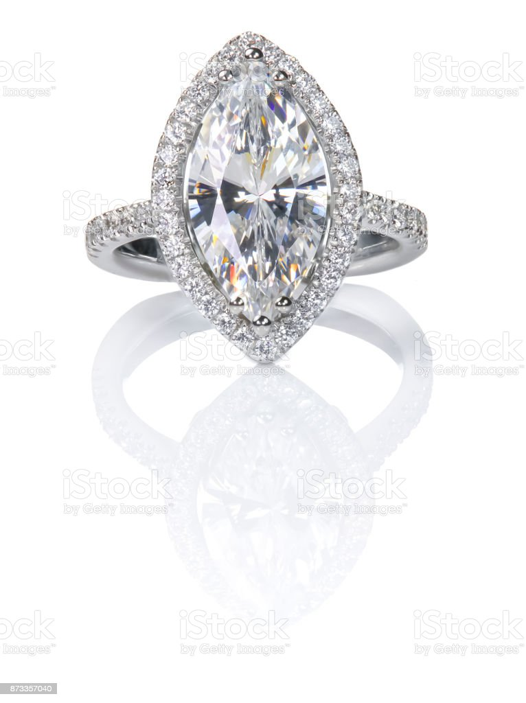 Beautiful Diamond ring. Marquise Cut Engagement wedding ring. stock photo