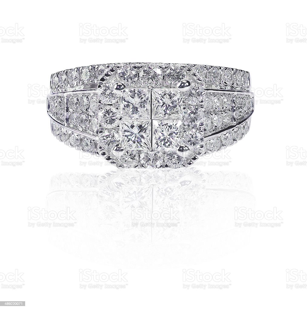 Beautiful diamond wedding engagment band ring solitaire with mul royalty-free stock photo