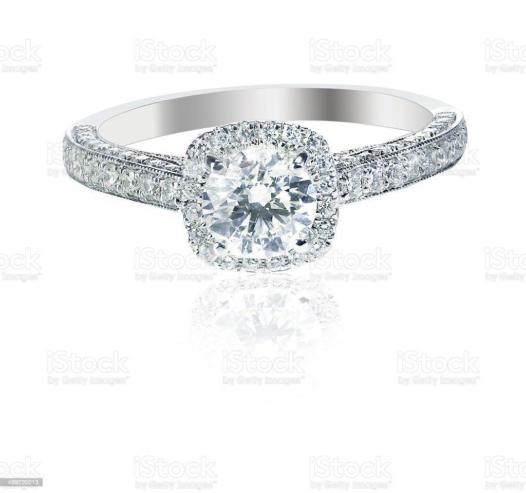 Lindo diamante anel de casamento engagment banda com mul solitaire - foto de acervo