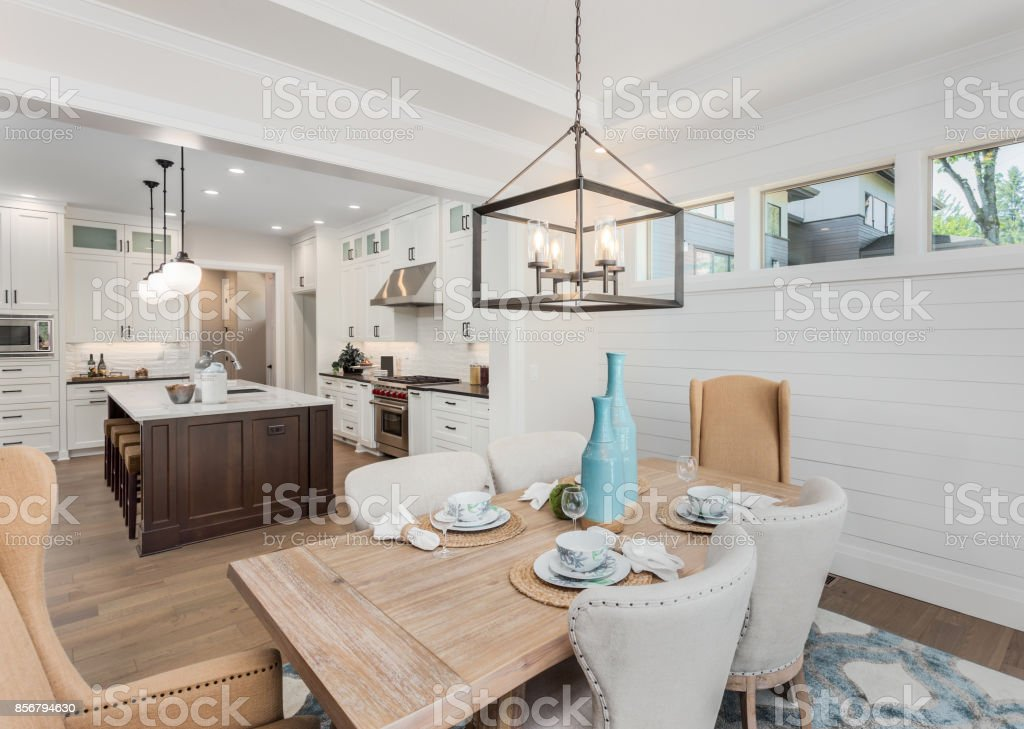 Beautiful Dining Room and Kitchen in Luxury Home