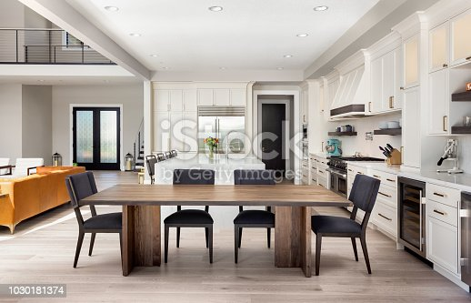 dining room and kitchen in newly constructed luxury home