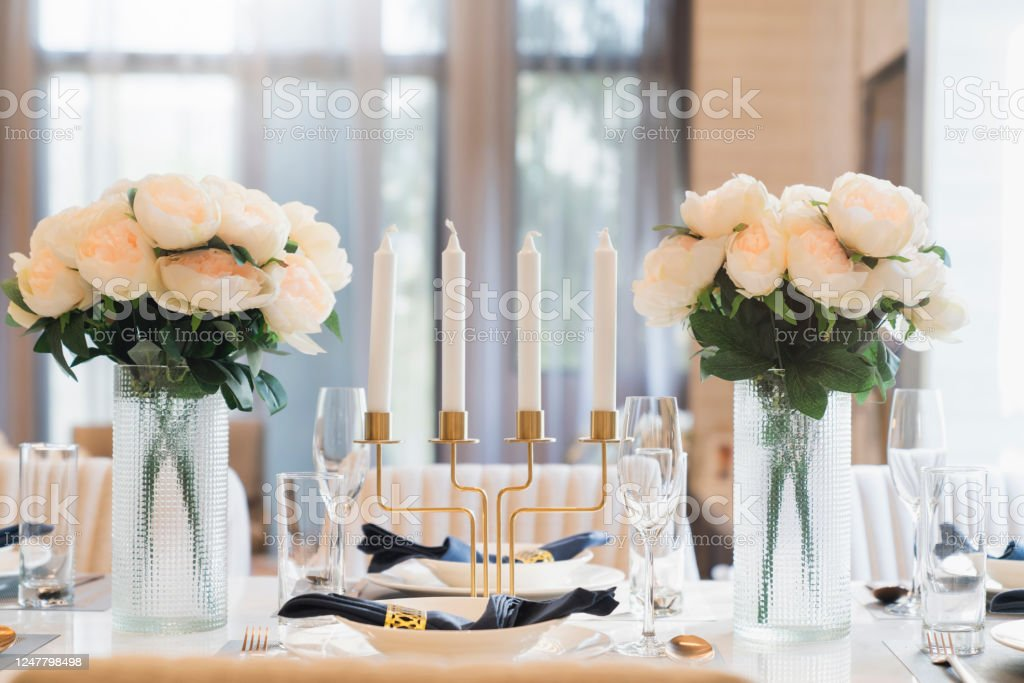 Beautiful Dining Table Decoration Prop Object Flower Vase Candle Stand Set Of Dishware With Sun Light From Big White Window Home Interior Design Concept Stock Photo Download Image Now Istock