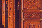 Beautiful doors in an ancient Buddhist temple.