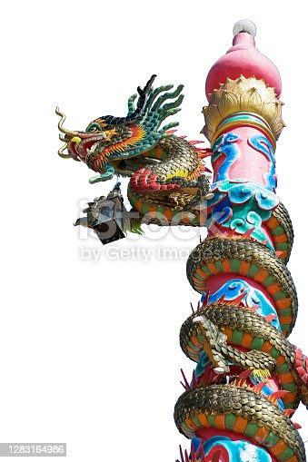 Beautiful dragon statue in the temple isolated on white background.