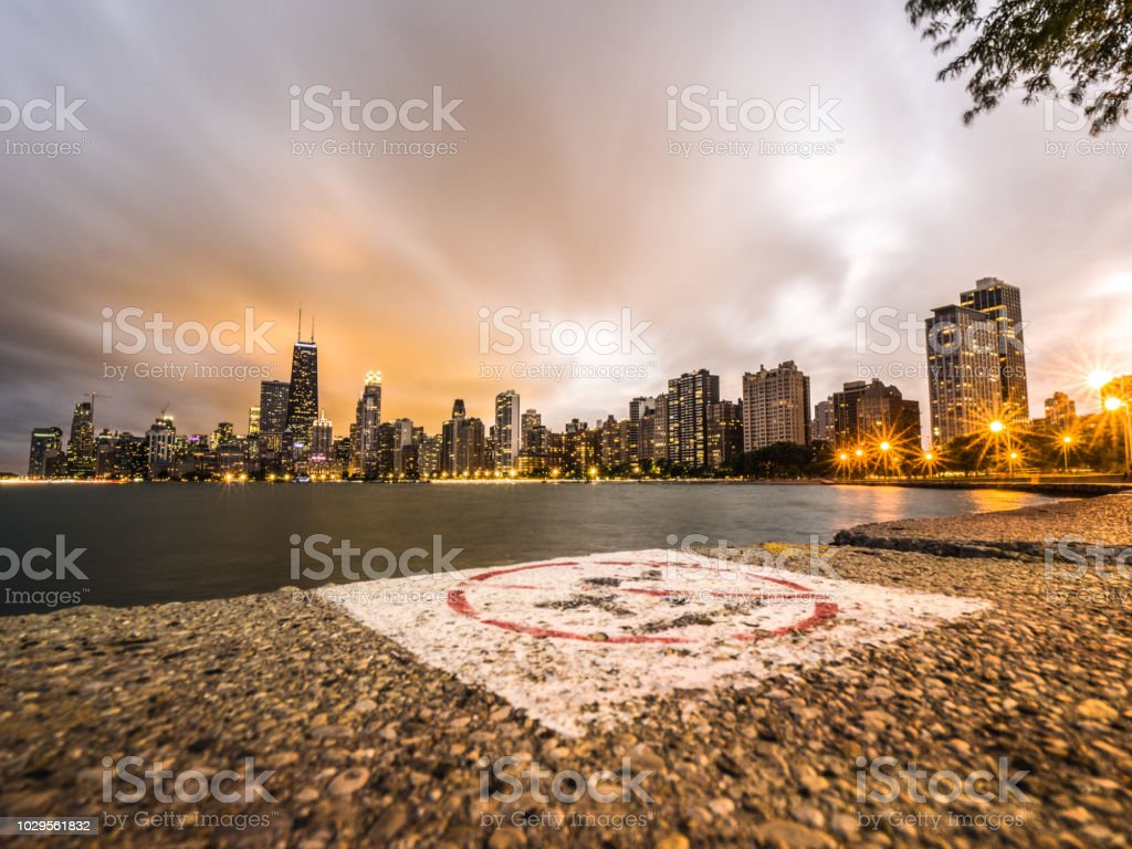 A Beautiful Dramatic Night Photograph Of Downtown Chicago Over Oak