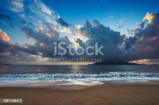 Beautiful Dramatic Sky over Beach at Nha Trang, Vietnam