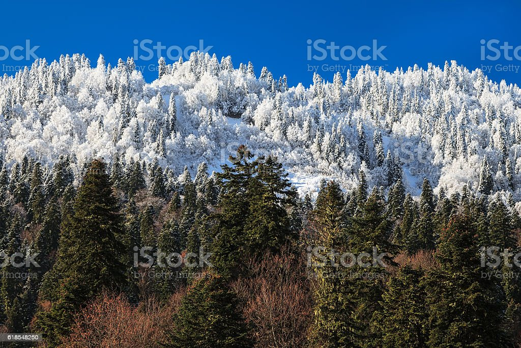 Beautiful drastic change of seasons in the mountains stock photo