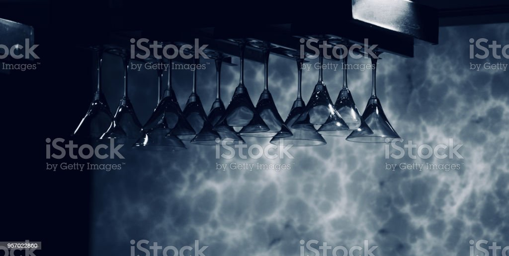 Beautiful drinking wine glasses of a bar isolated unique photo royalty-free stock photo