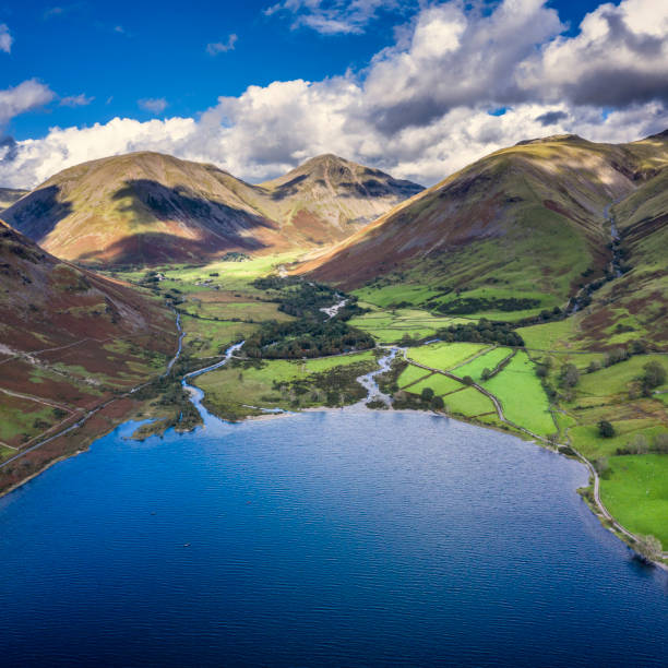 Beautiful drone view over Lake District landscape in late Summer, in Wast Water valley with mountain views and dramatic sky stock photo