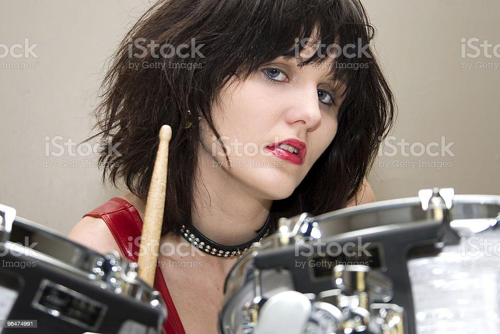 Beautiful Drummer Girl royalty-free stock photo