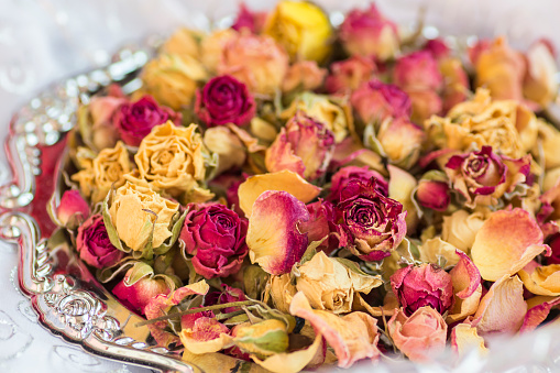 Beautiful dry roses on a silver tray