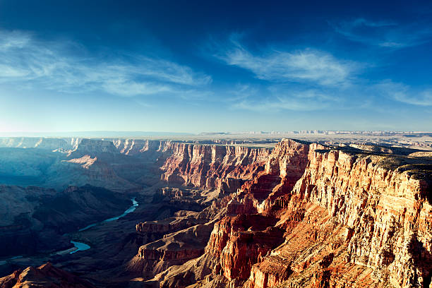 beautiful dusk view of the grand canyon - grand canyon national park stock photos and pictures