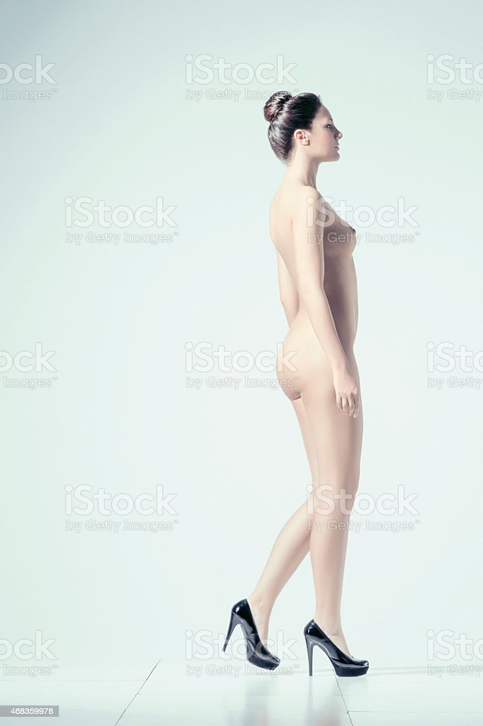 Beautiful dynamic women   Gorgeous naked  brunette      Natural beauty portrait royalty-free stock photo