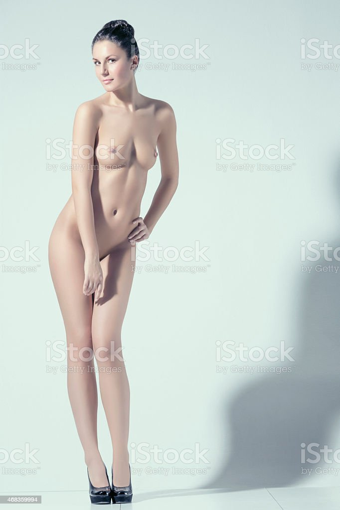 Beautiful dynamic women   Gorgeous naked  brunette      Natural beauty portrait royalty-free stock photo