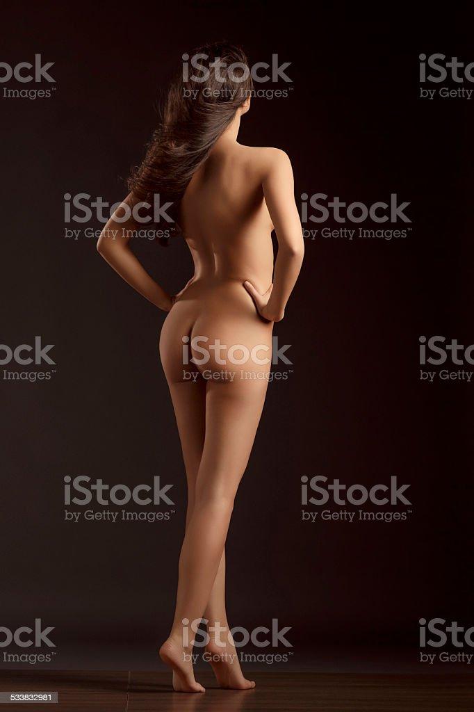 Beautiful Dynamic Women Gorgeous Naked Brunette Natural Beauty Portrait Royalty Free Stock Photo