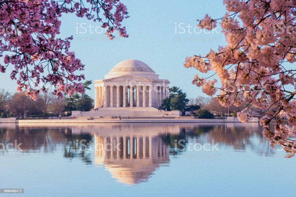 Beautiful early morning Jefferson Memorial stock photo