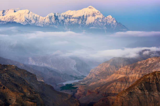 Beautiful early morning view of the canyon and Annapurna mountain range. Nepal stock photo
