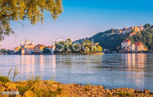 View over Passau and the three rivers corner and confluence of the Danube, Inn and Ilz on beautiful summer day.