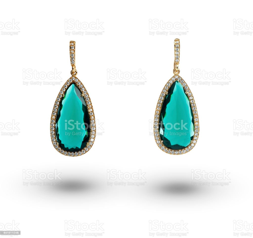 Beautiful earrings over white background stock photo