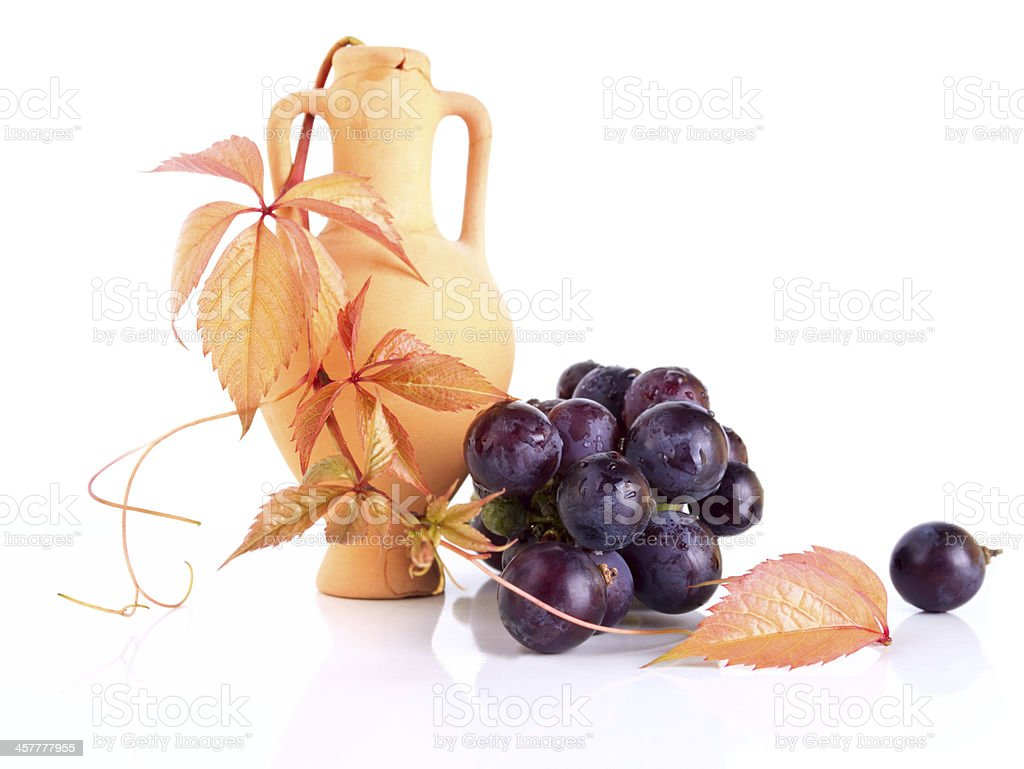 Beautiful earthenware amphora with the vine twig and grape royalty-free stock photo