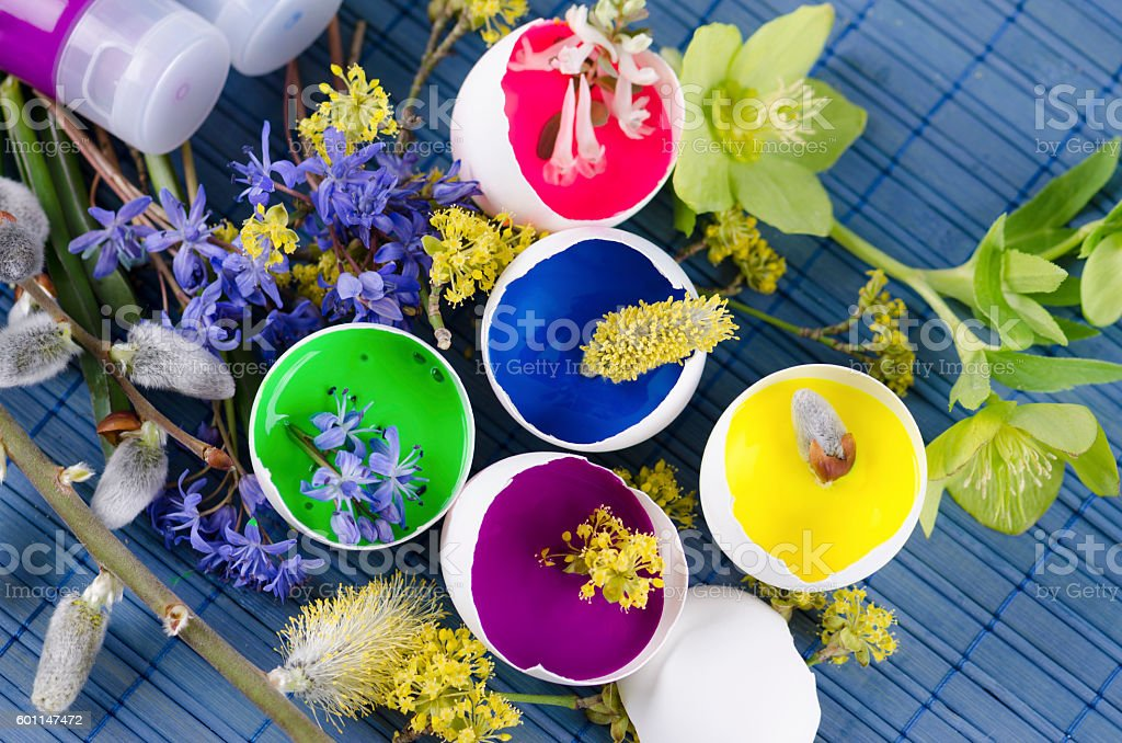 Beautiful Easter decoration with egg shells with paints stock photo