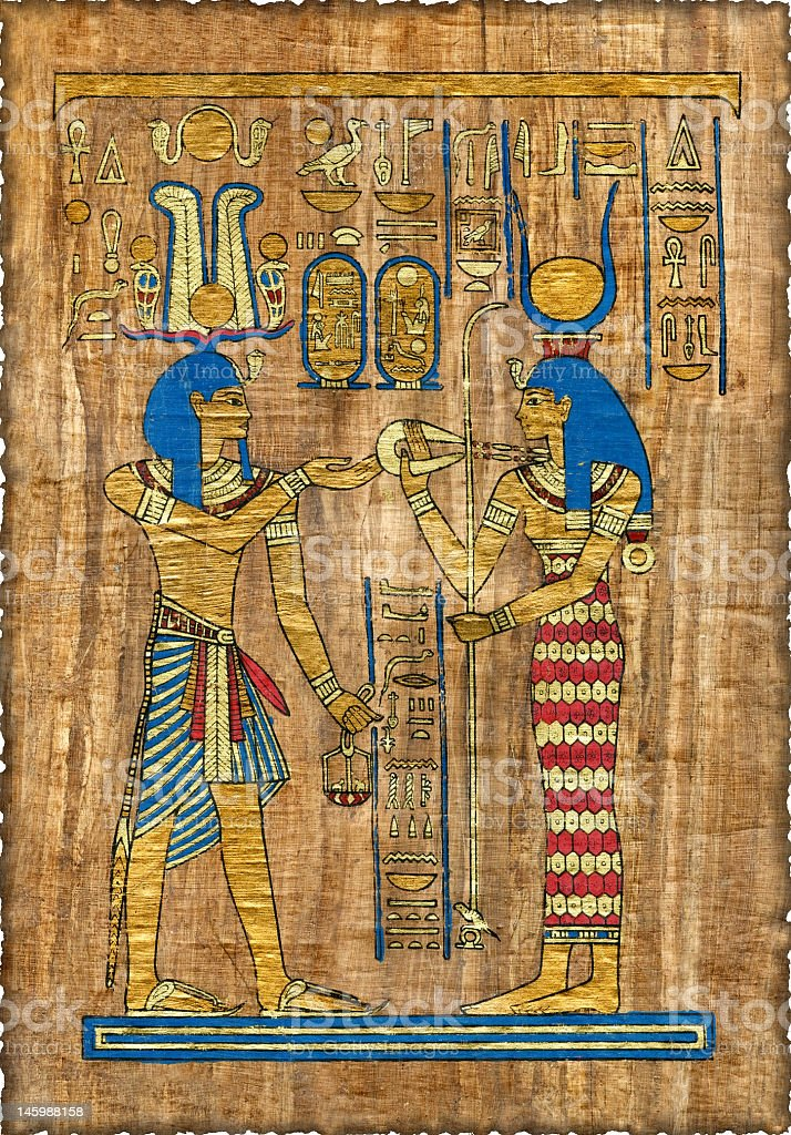 Beautiful egyptian papyrus with elements of ceremonial ornament stock photo