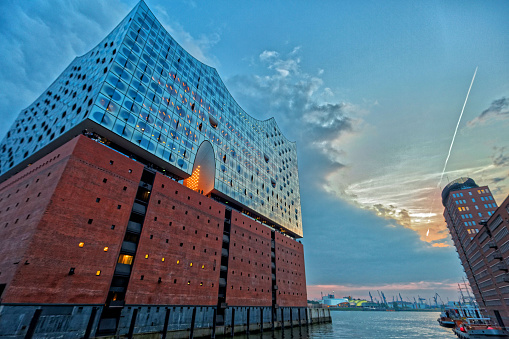 Beautiful Elbphilharmonie concert hall in Hamburg at hafencity district.