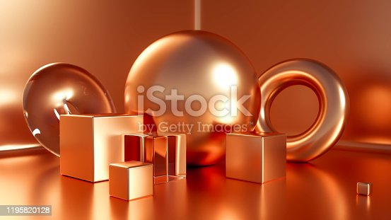 1128982640 istock photo Beautiful, elegant background with a pedestal and a showcase. 3d illustration, 3d   rendering. 1195820128