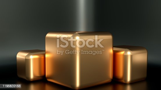 1128982640 istock photo Beautiful, elegant background with a pedestal and a showcase. 3d illustration, 3d   rendering. 1195820153
