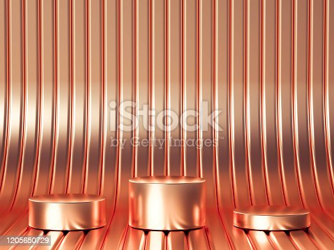 1128982640 istock photo Beautiful, elegant background with a pedestal and a showcase. 3d illustration, 3d   rendering. 1205650729