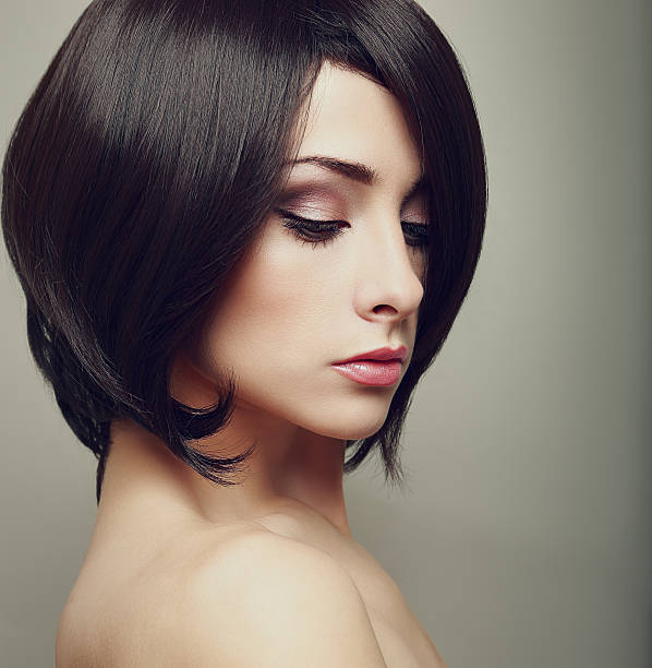 16 Beautiful Bright Makeup Woman Profile With Black Short Hair Stock Photos Pictures Royalty Free Images Istock